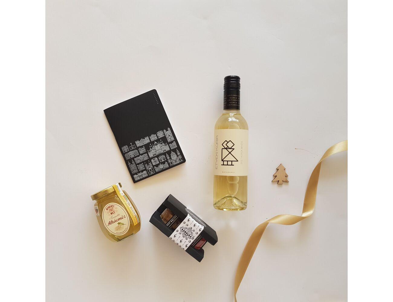 Arany és fekete, gasztro és design - bor, chutney, méz, Budapest-füzet ajándékcsomag