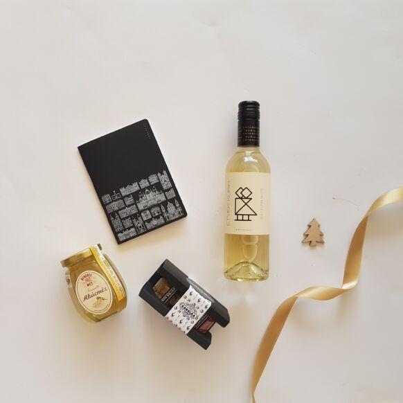 Arany és fekete, gasztro és design - bor, chutney, méz, Budapest-notesz